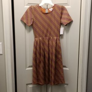 Brand New Orange and Grey Lularoe Amelia Dress